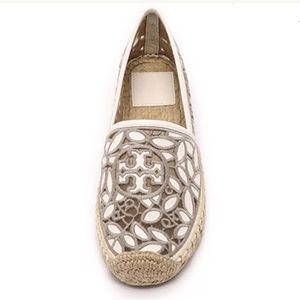 Tory Burch Rhea Leather Lace-Mesh Espadrilles